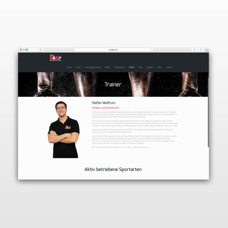 The PAC Website Desktop