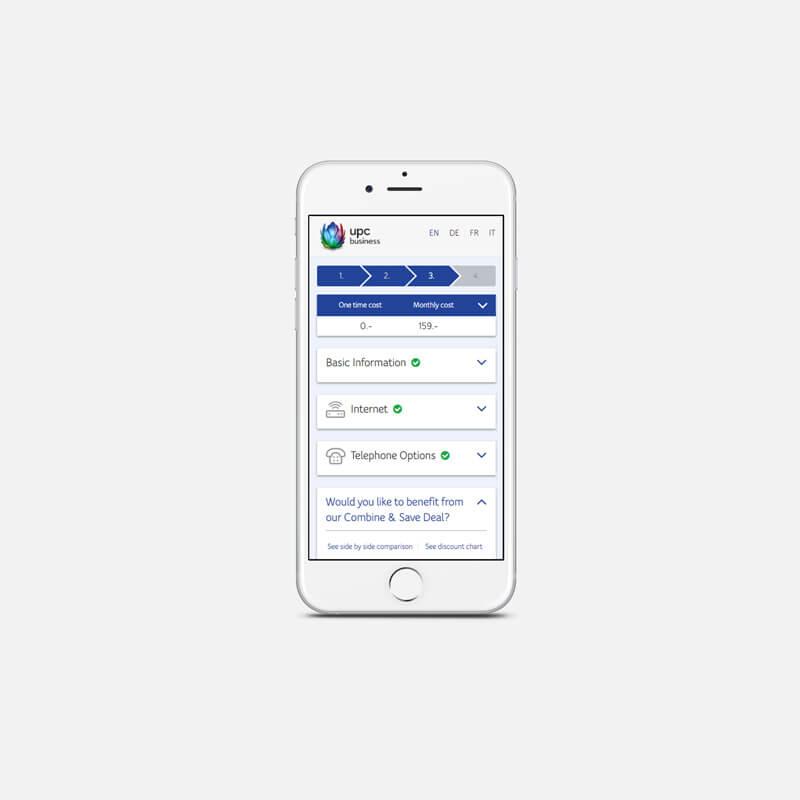 UPC Schweiz Webshop Mobile